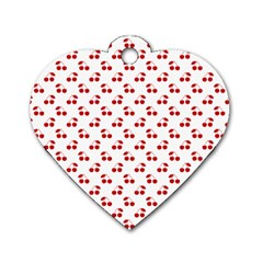 Red Cherries On White Pattern   Dog Tag Heart (One Side)