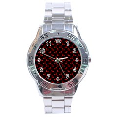 Red Cherries On Black Stainless Steel Analogue Watch by PodArtist