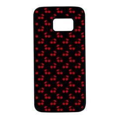 Red Cherries On Black Samsung Galaxy S7 Black Seamless Case by PodArtist