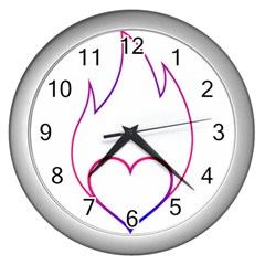 Heart Flame Logo Emblem Wall Clocks (silver)  by Nexatart
