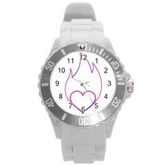 Heart Flame Logo Emblem Round Plastic Sport Watch (l) by Nexatart