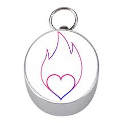 Heart Flame Logo Emblem Mini Silver Compasses by Nexatart