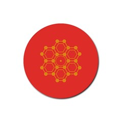 Pentagon Cells Chemistry Yellow Rubber Coaster (round)  by Nexatart