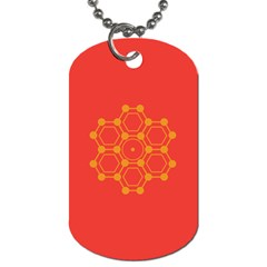 Pentagon Cells Chemistry Yellow Dog Tag (two Sides) by Nexatart
