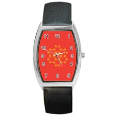 Pentagon Cells Chemistry Yellow Barrel Style Metal Watch by Nexatart