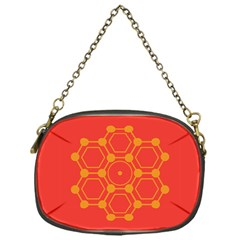 Pentagon Cells Chemistry Yellow Chain Purses (one Side)  by Nexatart