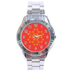 Pentagon Cells Chemistry Yellow Stainless Steel Analogue Watch by Nexatart