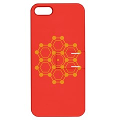 Pentagon Cells Chemistry Yellow Apple Iphone 5 Hardshell Case With Stand by Nexatart
