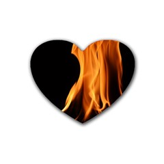 Fire Flame Pillar Of Fire Heat Rubber Coaster (heart)  by Nexatart