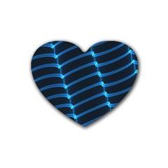 Background Light Glow Blue Rubber Coaster (heart)  by Nexatart