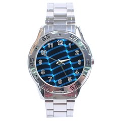 Background Light Glow Blue Stainless Steel Analogue Watch by Nexatart