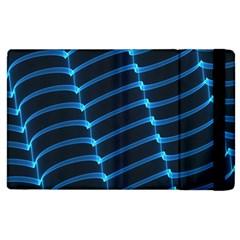 Background Light Glow Blue Apple Ipad 3/4 Flip Case by Nexatart