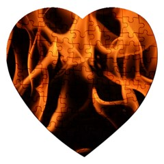 Fire Flame Heat Burn Hot Jigsaw Puzzle (heart) by Nexatart