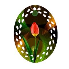 Tulip Flower Background Nebulous Oval Filigree Ornament (two Sides) by Nexatart