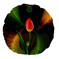Tulip Flower Background Nebulous Large 18  Premium Round Cushions by Nexatart