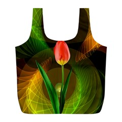 Tulip Flower Background Nebulous Full Print Recycle Bags (l)  by Nexatart