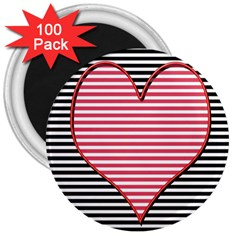 Heart Stripes Symbol Striped 3  Magnets (100 Pack) by Nexatart