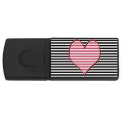 Heart Stripes Symbol Striped Usb Flash Drive Rectangular (4 Gb) by Nexatart