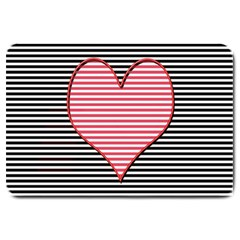 Heart Stripes Symbol Striped Large Doormat  by Nexatart