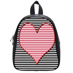 Heart Stripes Symbol Striped School Bags (small)  by Nexatart