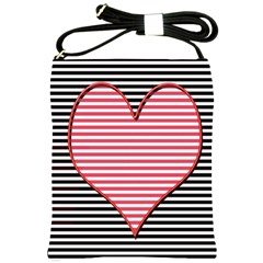 Heart Stripes Symbol Striped Shoulder Sling Bags by Nexatart