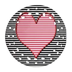Heart Stripes Symbol Striped Round Filigree Ornament (two Sides) by Nexatart