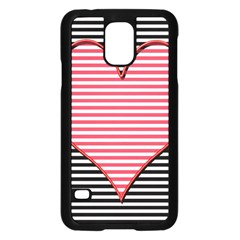 Heart Stripes Symbol Striped Samsung Galaxy S5 Case (black) by Nexatart