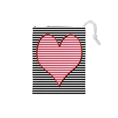 Heart Stripes Symbol Striped Drawstring Pouches (small)  by Nexatart