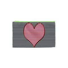 Heart Stripes Symbol Striped Cosmetic Bag (xs) by Nexatart