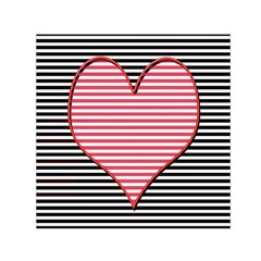 Heart Stripes Symbol Striped Small Satin Scarf (square) by Nexatart
