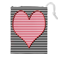Heart Stripes Symbol Striped Drawstring Pouches (xxl) by Nexatart