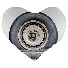 Flat Tire Vehicle Wear Street Large 19  Premium Heart Shape Cushions by Nexatart