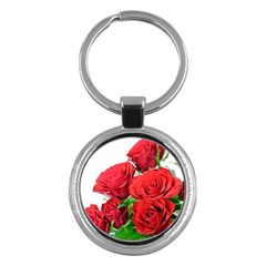 A Bouquet Of Roses On A White Background Key Chains (round)  by Nexatart
