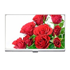 A Bouquet Of Roses On A White Background Business Card Holders by Nexatart