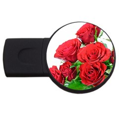 A Bouquet Of Roses On A White Background Usb Flash Drive Round (4 Gb)