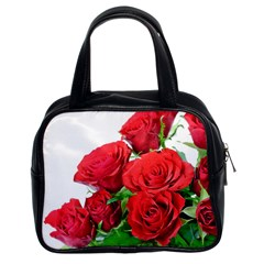 A Bouquet Of Roses On A White Background Classic Handbags (2 Sides) by Nexatart