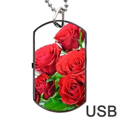 A Bouquet Of Roses On A White Background Dog Tag Usb Flash (one Side) by Nexatart