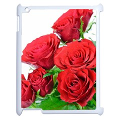 A Bouquet Of Roses On A White Background Apple Ipad 2 Case (white) by Nexatart