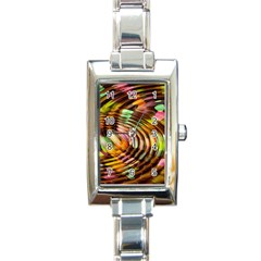 Wave Rings Circle Abstract Rectangle Italian Charm Watch by Nexatart