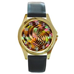 Wave Rings Circle Abstract Round Gold Metal Watch by Nexatart
