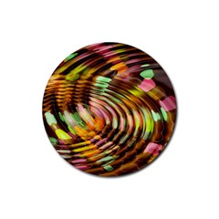 Wave Rings Circle Abstract Rubber Coaster (round)  by Nexatart