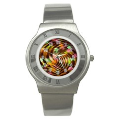 Wave Rings Circle Abstract Stainless Steel Watch by Nexatart