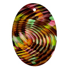 Wave Rings Circle Abstract Oval Ornament (two Sides) by Nexatart