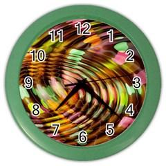 Wave Rings Circle Abstract Color Wall Clocks by Nexatart