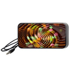 Wave Rings Circle Abstract Portable Speaker (black) by Nexatart