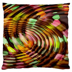 Wave Rings Circle Abstract Large Cushion Case (one Side) by Nexatart