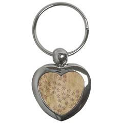 Parchment Paper Old Leaves Leaf Key Chains (heart)  by Nexatart