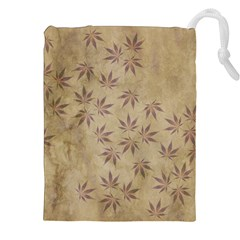 Parchment Paper Old Leaves Leaf Drawstring Pouches (xxl) by Nexatart