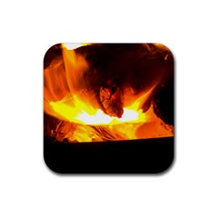Fire Rays Mystical Burn Atmosphere Rubber Square Coaster (4 Pack)  by Nexatart