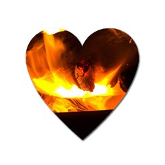 Fire Rays Mystical Burn Atmosphere Heart Magnet by Nexatart